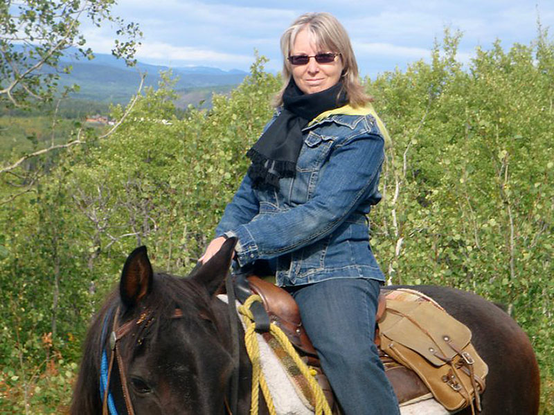 Adele Woolsey trail ride on Home Ranch